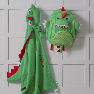Personalised Devin Dinosaur Hooded Towel And Backpack - shop by price