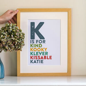 Personalised Contemporary Alphabet Name Print