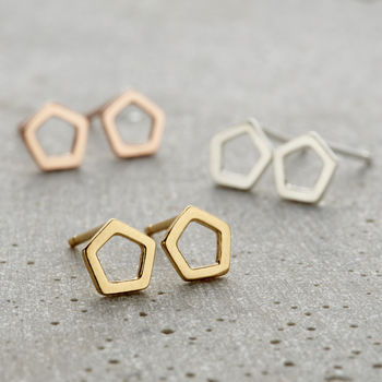 Fine Pentagon Stud Earrings