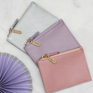 Personalised Luxury Pastel Leather Purse With Keyring