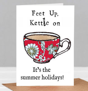 Feet Up Kettle On Thank You Teacher Card - thank you cards