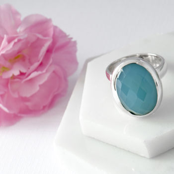 Faceted Turquoise Crystal Sterling Silver Ring