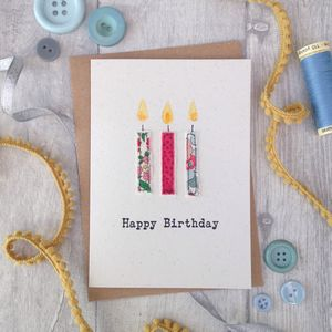 Embroidered Candle Happy Birthday Card - birthday cards