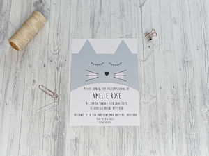 Cute Cat Christening Invitation - invitations