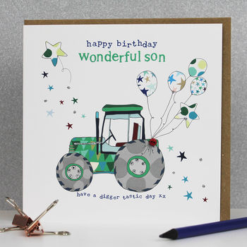 Son Birthday Card Tractor Theme