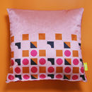 Pink Geometric Velvet Cushion