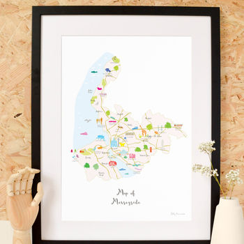 Map Of Merseyside Art Print