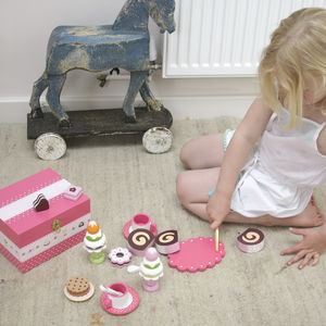 Wooden Toy Pink Tea Party Set - pretend play & dressing up