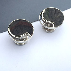 'Newspaper Wood' Cut Out Sterling Silver Cufflinks