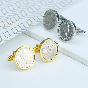 Luxury Choose Your Year Lucky Sixpence Cufflinks - cufflinks