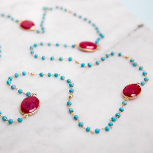 Turquoise And Ruby Long Layering Gold Necklace - necklaces & pendants