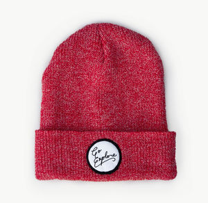 'Go Explore' Heather Red Beanie And Bag - hats, scarves & gloves