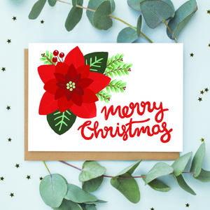 Traditional Poinsettia Christmas Card - cards & wrap