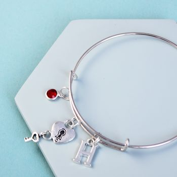 Personalised Lock And Key Initial Birthstone Bangle
