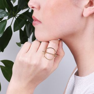 Shiny Geometric Circle And Bar Ring - rings