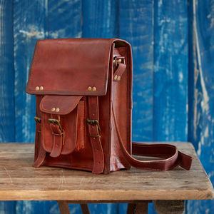 Brown Leather Satchel Style Shoulder Bag - women's accessories