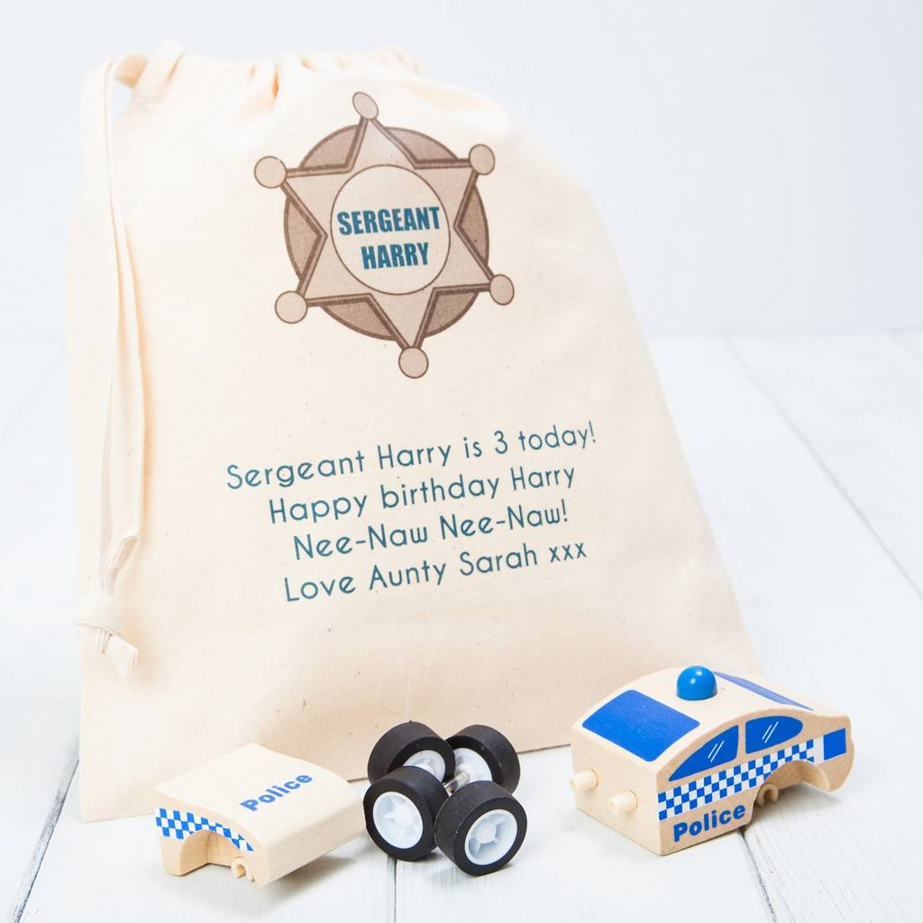 personalised click and clack wooden police car toy by british and ...