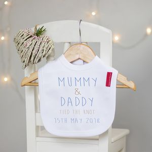 Personalised 'Tie The Knot' Wedding Baby Bib