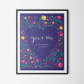 'You And Me' Personalised Illustrated Floral Print - anniversary gifts