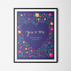 'You And Me' Personalised Illustrated Floral Print - by year