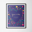 'You And Me' Personalised Flower Print Wedding Gift