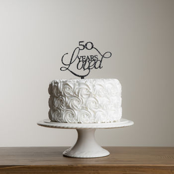 50 Years Loved Acrylic Party Cake Topper Set