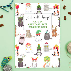 Cats In Christmas Hats Colouring Book