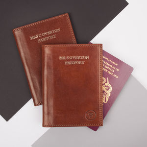 Personalised Finest Leather Passport Holder 'Prato' - passport & travel card holders