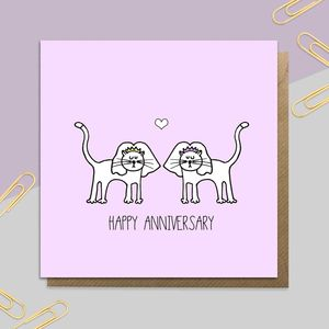 Mrs And Mrs Anniversary Cats Card