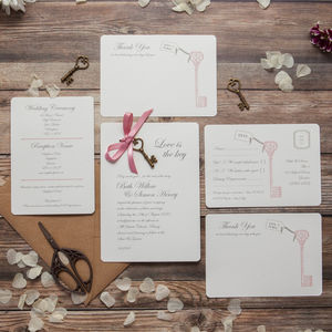 'Love Is The Key' DIY Wedding Invitation Pack - diy wedding stationery