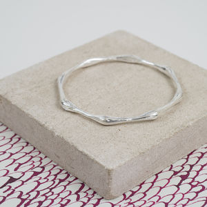 Brushed Sterling Silver Hexagonal Bangle