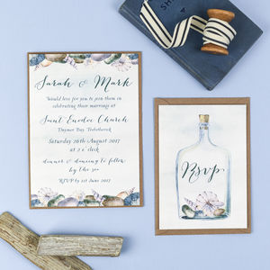 Seaside Wedding Invitation And RSVP - invitations