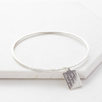 Personalised Silver Tag Message Bangle
