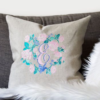 Embroidered Cushion With Personalised Monogram Letter