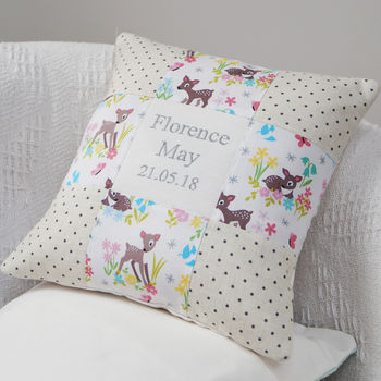 Baby Deer Name And Date Cushion