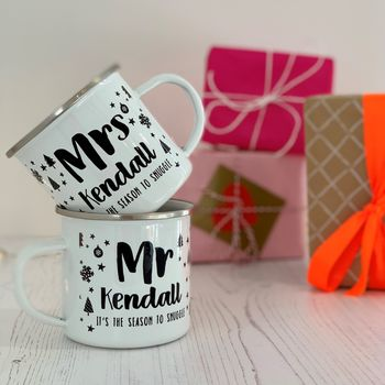 Mr And Mrs Winter Doodle Enamel Mug Set