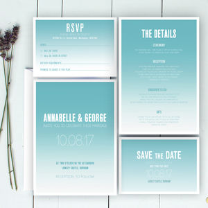 Modern Fade Wedding Invitation And Save The Date - save the date cards