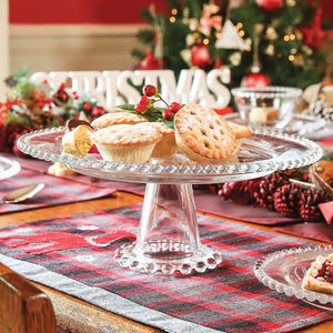 Elegant Christmas Beaded Glass Cake Stand