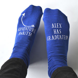 Adventure Awaits Personalised Graduation Socks - socks & tights