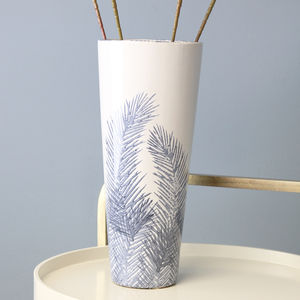 Blue Fern Leaf Vase