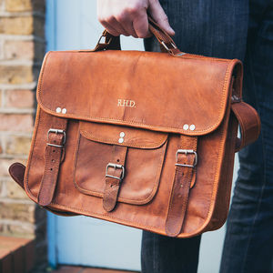 Vintage Style Leather Satchel - personalised gifts