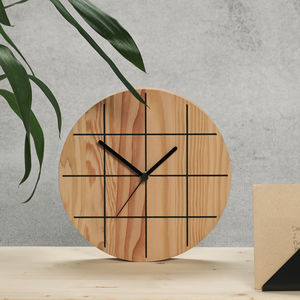 Grid Wooden Wall Clock - clocks
