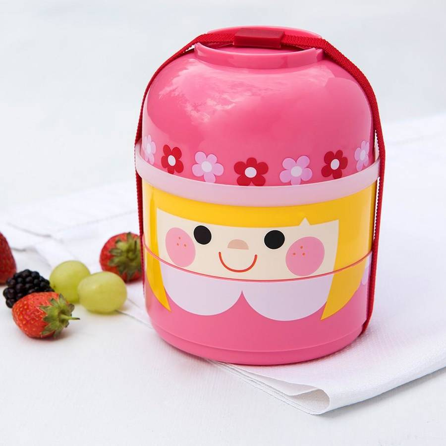 girl bento three compartment lunch box by little baby company notonthehighs. Black Bedroom Furniture Sets. Home Design Ideas
