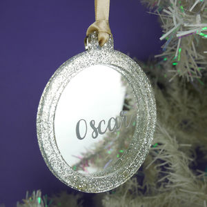 Personalised Mirrored Christmas Tree Ornament - tree decorations