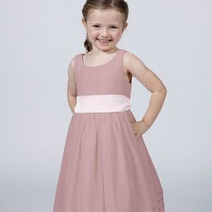 Girl's Flower Girl Party Dress With Sash - wedding and party outfits