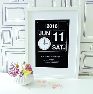 Personalised Wedding Clock Print - anniversary prints