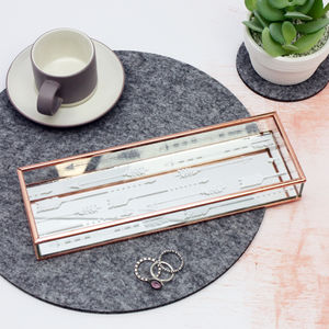 Copper And Arrows Glass Jewellery Tray - storage & organisers