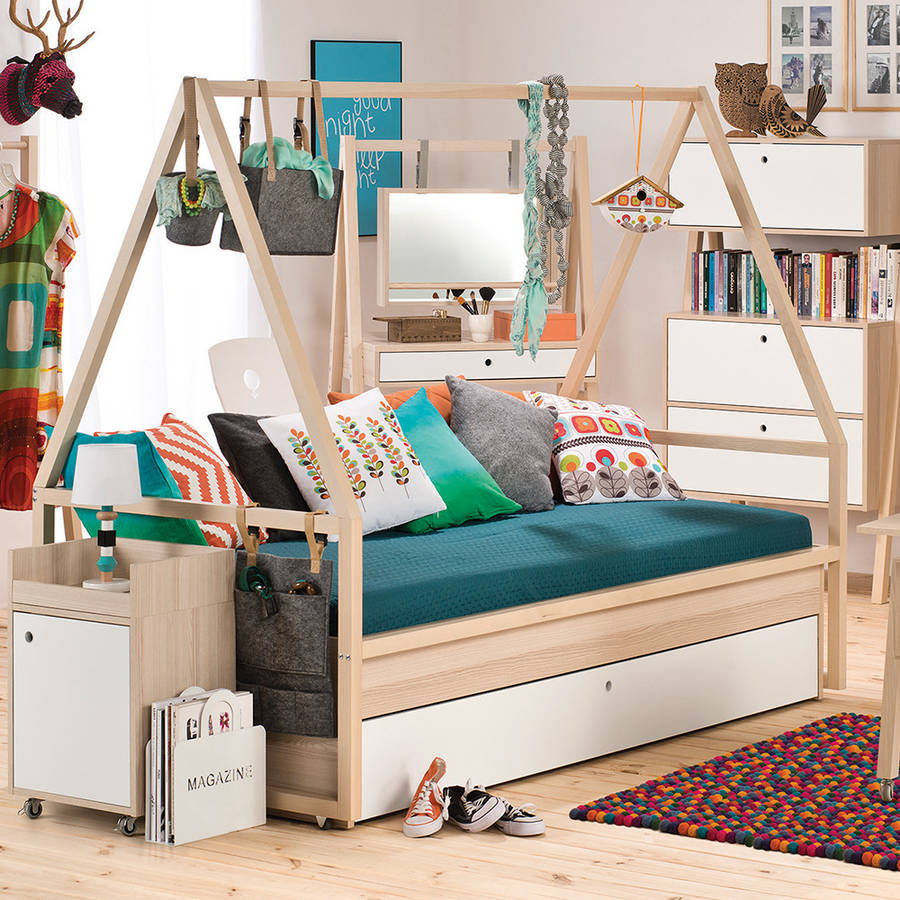 spot kids tipi bed and trolley with trundle drawer by. Black Bedroom Furniture Sets. Home Design Ideas