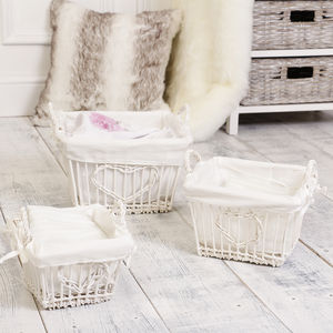 Set Of Three White Wicker Heart Lined Storage Baskets