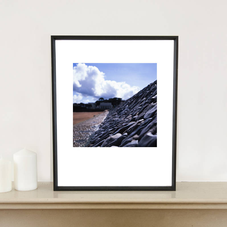 Sea Wall, Teignmouth Beach, Devon, Art Print